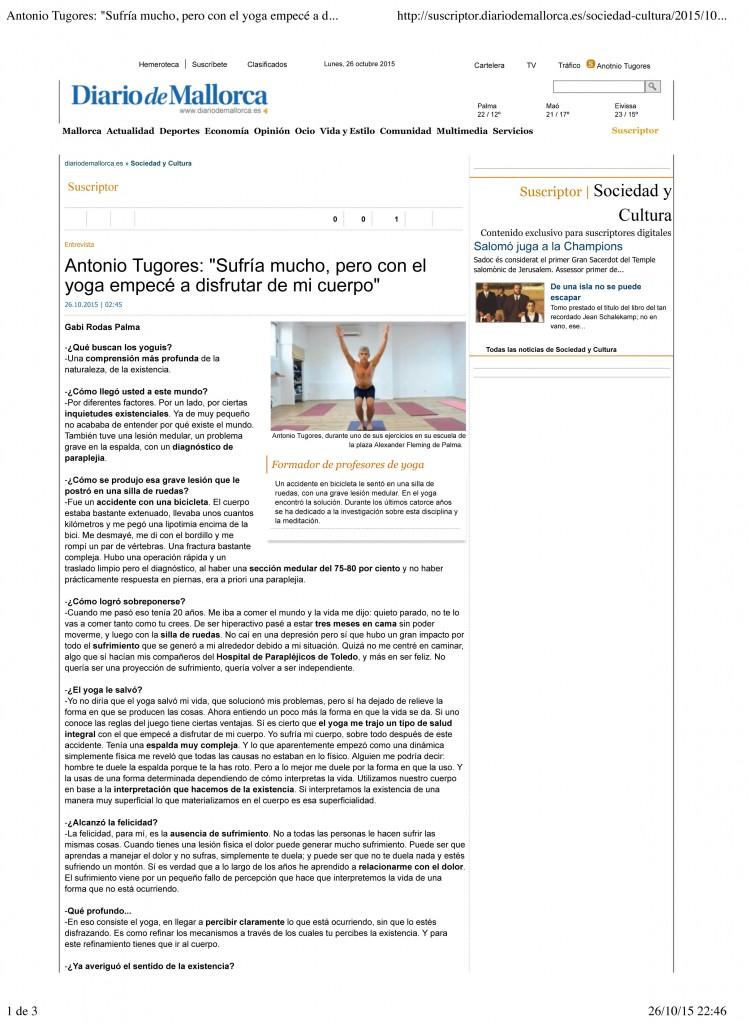 """Antonio Tugores: """"Sufr'a mucho, pero con el yoga empecŽ a disfru"""